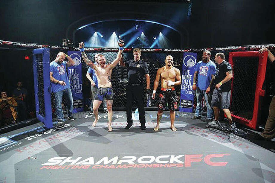 "Last Sept. 22, professional MMA fighter Brandon ""QuickDraw"" Lowe, left, beat Malcolm Smith for Shamrock FC 295. This fight was awarded ""Fight of the Year,"" by KnuckleJunkies.com. Lowe won in the second round by TKO, or technical knockout, earning him his third straight win. Photo: For The Telegraph"