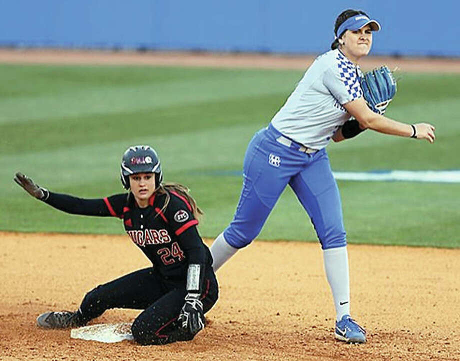 Kentucky second baseman Alex Martens, right, relays a throw to first after forcing out SIUE's Janie Smith during Tuesday's game in Lexington, Ky. SiUE lost 4-1. Photo: Britney Howard, UK Athletics Photo