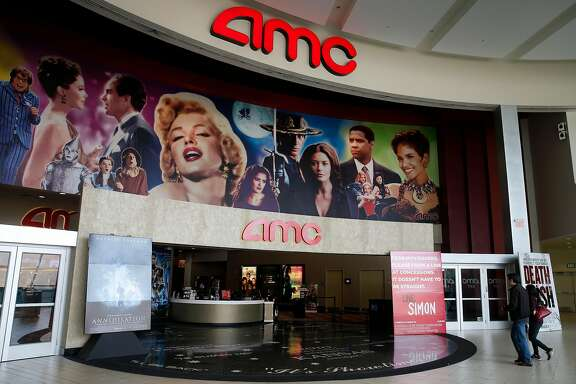 An AMC Theater screens newly-released films at the Vallco shopping mall in Cupertino, Calif. on Wednesday, Feb. 14, 2018. Few tenants remain at the mall in the western Santa Clara Valley, including the theater and a couple of restaurants, but it is largely abandoned.