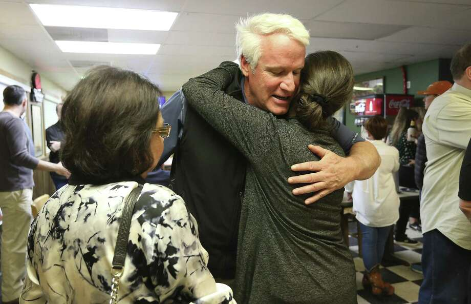State Rep. Lyle Larson receives congratulations from Cyndi Krier (right) and former Texas Secretary of State Hope Andrade (left) as he faces off against Hollywood Park mayor Chris Fails for Texas House District 122 in the Texas Republican Primary Election on Tuesday, Mar. 6, 2018. (Kin Man Hui/San Antonio Express-News) Photo: Kin Man Hui, Staff / San Antonio Express-News / ©2018 San Antonio Express-News