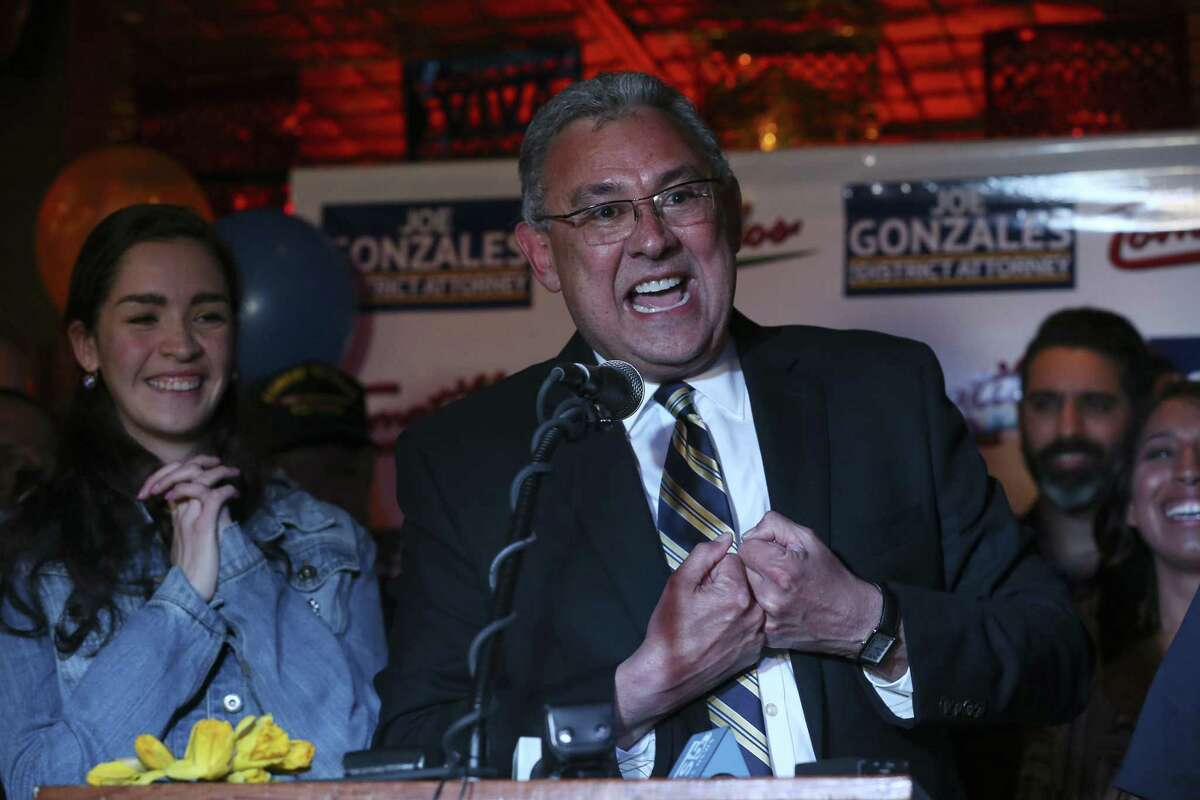 Democratic Bexar County District Attorney candidate Joe Gonzales declares victory in the primary election, Tuesday, March 6, 2018. Gonzales had a commanding lead over incumbent Nico LaHood. On the left is his daughter, Marissa, 17.