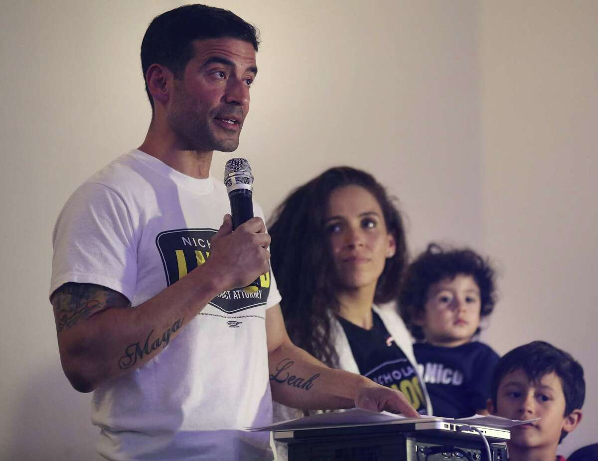 Bexar County District Attorney Nico LaHood, with his wife Davida and kids by his side, addresses supporters on the night of his loss to Joe Gonzales in the primary. Readers comment on his defeat.
