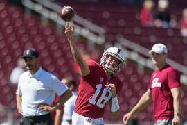Stanford QB Jack Richardson warms up at Stanford Stadium ahead of the NCAA Pac-12 football game against the Arizona State Sun Devils in Stanford, CA on September 30, 2017.