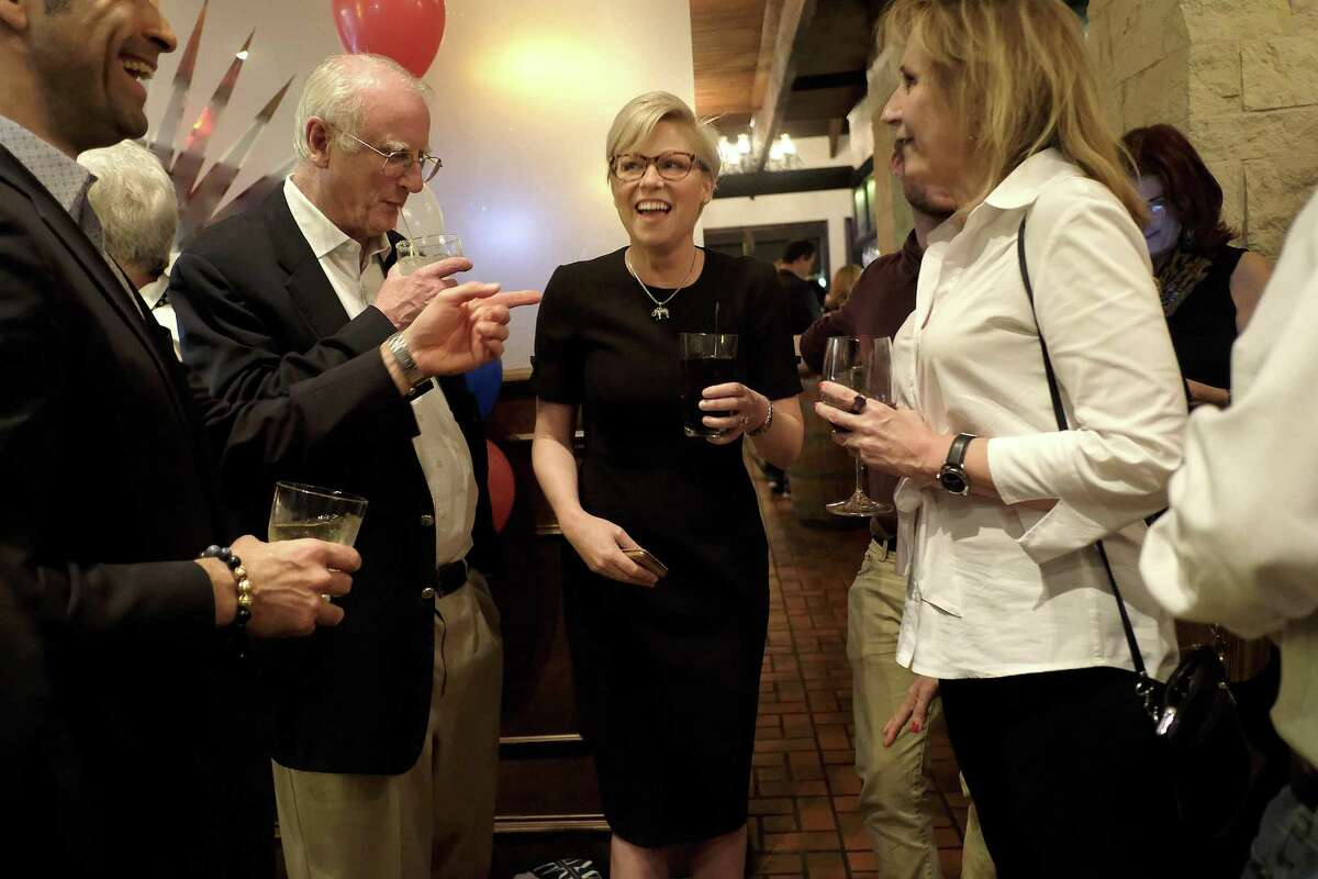 Texas Rep. Sarah Davis talks to her supporters at her election night watch party at Picos on Tuesday, March 6, 2018, in Houston. ( Elizabeth Conley / Houston Chronicle )