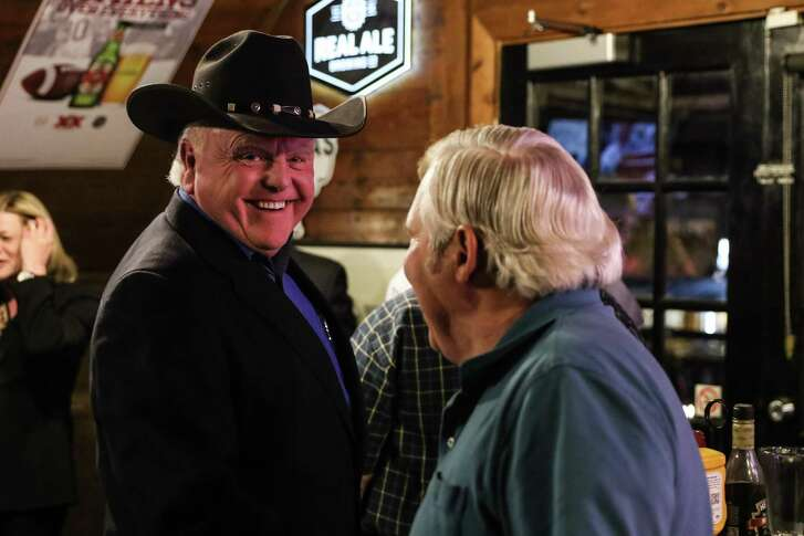 Agriculture Commissioner Sid Miller is all smiles at The Tavern, an Austin bar where he was watching election results showing him winning the Republican nod to run for reelection to his job on March 6, 2018.