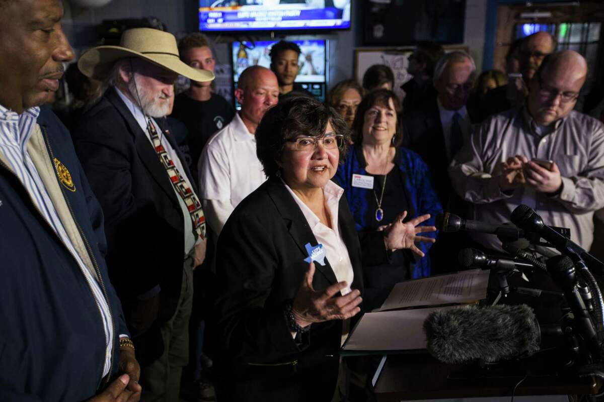 Gubernatorial candidate and former Dallas Sheriff Lupe Valdez reacts to early voting primary election results at a Democratic party gathering at Dallasite in Dallas on Tuesday, March 6, 2018. (Ashley Landis/The Dallas Morning News via AP)