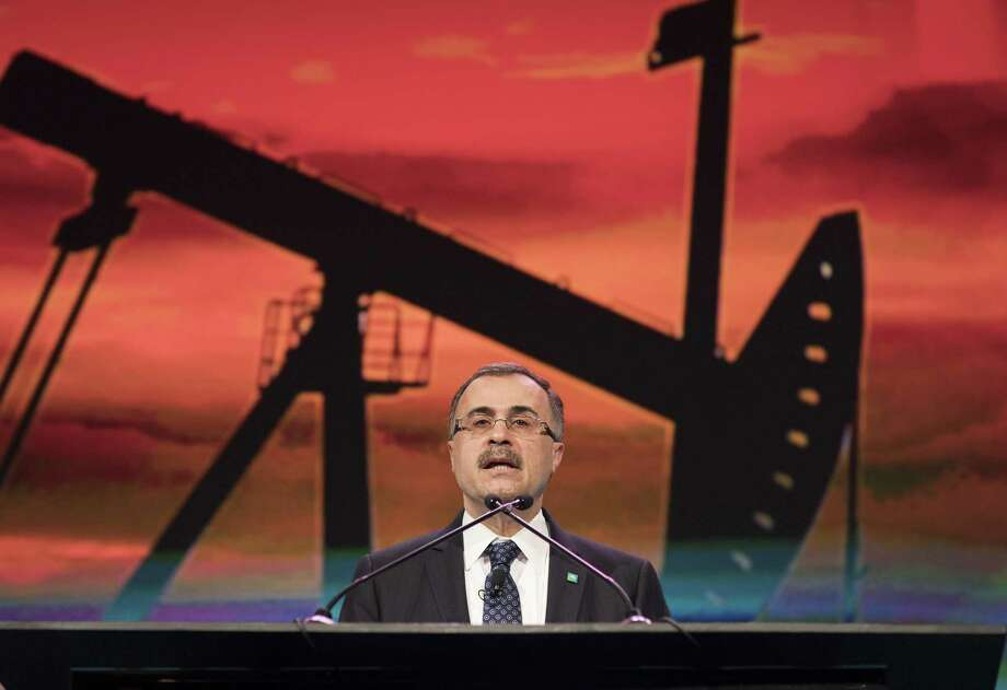 Amin Nasser, chief executive officer of Saudi Arabian Oil Co. (Aramco), speaks during the 2018 CERAWeek by IHS Markit conference in Houston. Aramco is reportedly considering investments in Gulf Coast LNG projects. Photo: F. Carter Smith / Bloomberg / © 2018 Bloomberg Finance LP