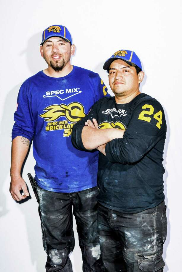 Winners of the Bricklayer 500 championship, David Chavez, left, and Miguel Contreras, both from Houston, outside the Las Vegas Convention Center in Nevada, Jan. 24, 2018. Here at the Bricklayer 500, humans are holding off the future with trowel and muscle. But that may not last. Bricklayers are becoming increasingly harder to find nationwide. (Roger Kisby/The New York Times) Photo: ROGER KISBY, STR / NYT / NYTNS