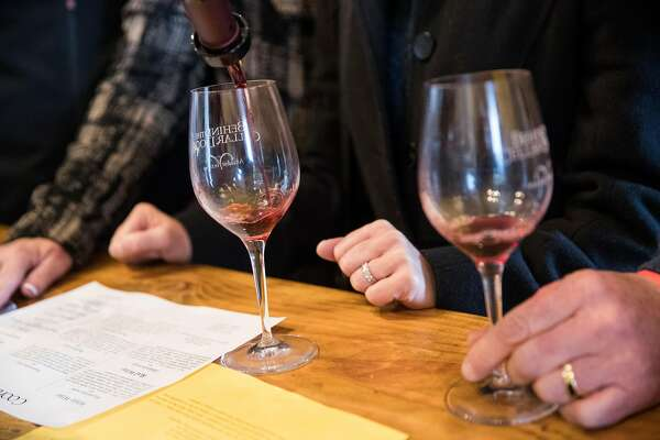 A wine tasting is poured at Cooper Vineyards during the Behind the Cellar Door event at the winery in Plymouth, Calif., on Saturday, March 3, 2018. Cooper Vineyards is one of several pet-friendly wineries in Gold Country where you can stop with your pets.