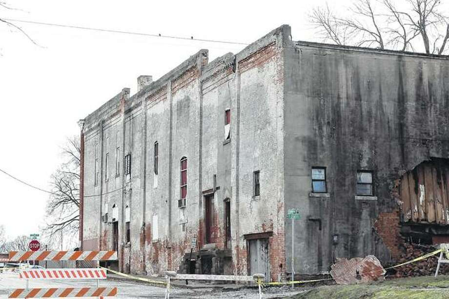 An old movie theater building has been in need of repairs for years, according to Virginia Mayor Reg Brunk. Photo: Nicole Gleason | Journal-Courier