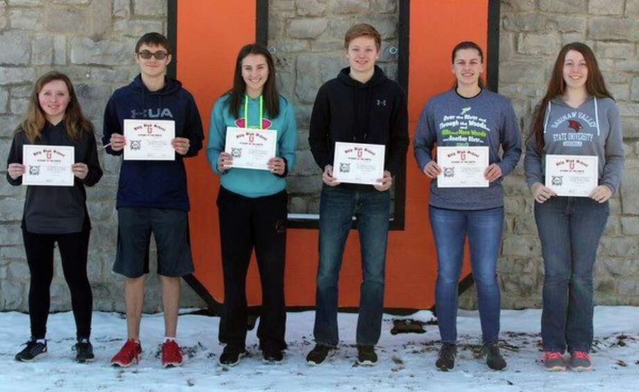 Ubly Community Schools recently announced its students of the month for February. Those students are (from left): Jeanna Bischer, 7th grade; Hunter Faber, 8th grade; Samantha Souva, 9th grade; Austin Cregeur, 10th grade; Bethany Gornowicz, 11th grade; and Lauren Gillig, 12th grade. (Submitted Photo)