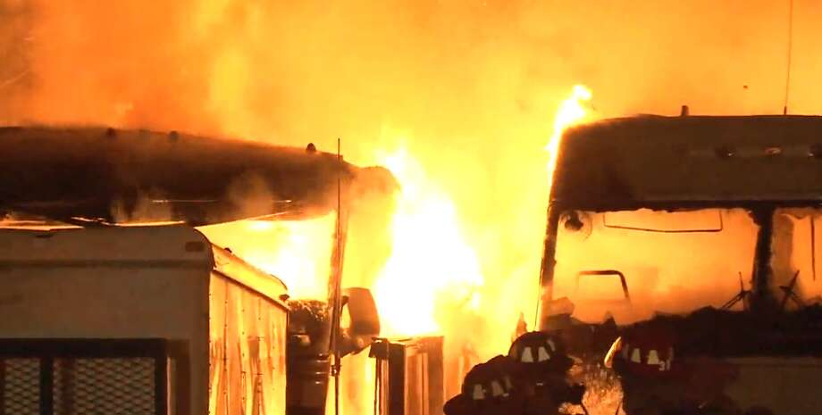 Two mobile homes went up in flames in northeast Houston on Wednesday, March 7, 2018. Photo: Metro Video