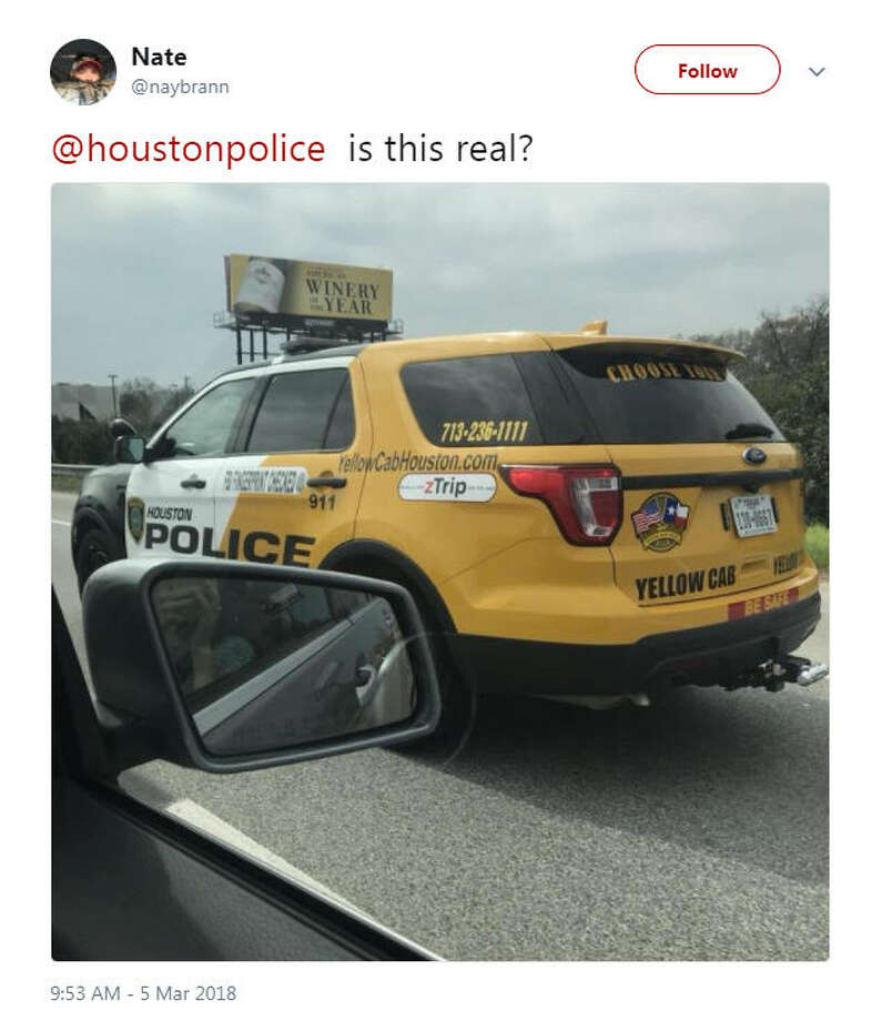"A photo of a Houston Police Department vehicle painted as both a cop car and a taxi shook social media this week. It is actually used by the police for their ""Choose Your Ride"" campaign to raise awareness about drunk driving.Source: Twitter Photo: Twitter"