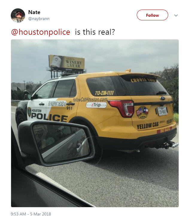 Why A Houston Police Car Is Also Painted As A Taxi Cab