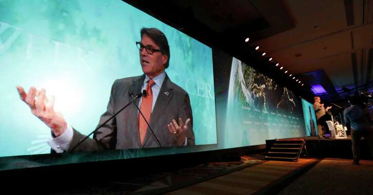 Energy Secretary Rick Perry speaks at the CERAWeek conference at the Hilton Americas, Wednesday, March 7, 2018, in Houston.