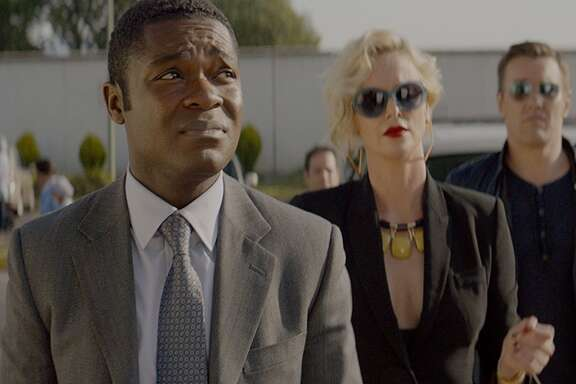 "David Oyelowo, from left, Charlize Theron and Joel Edgerton star in ""Gringo."""