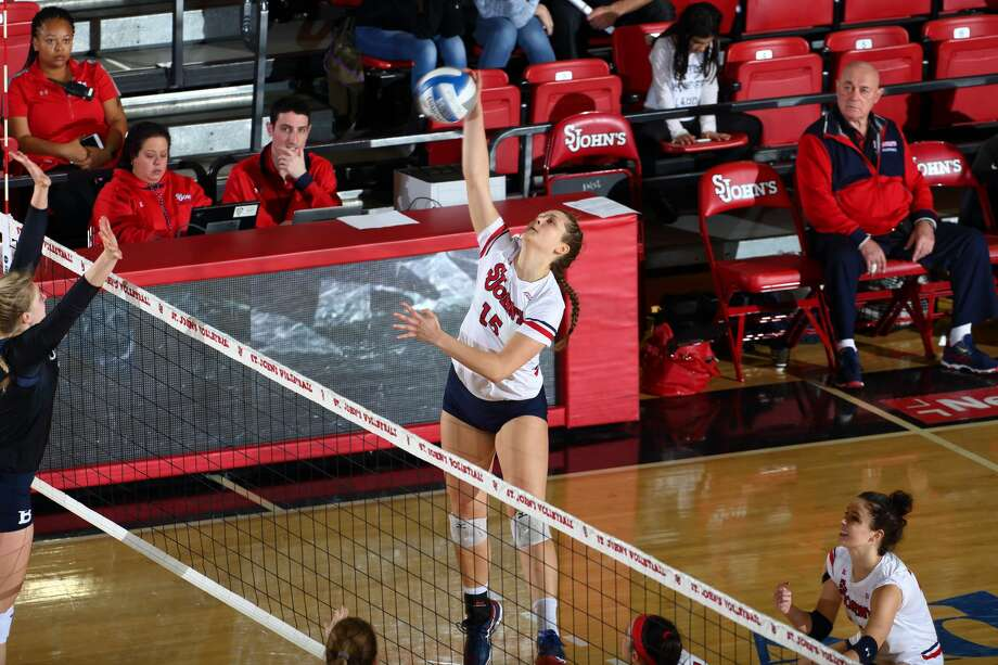 The Woodlands graduate Kayley Wood made her presence felt immediately for the St. John's volleyball team, leading all Big East freshmen in kills (254) and points per set (2.72) in 2017 Photo: Courtesy St. John's Athletics