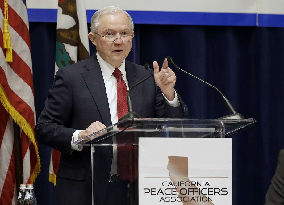 U.S. Attorney General Jeff Sessions addresses the California Peace Officers' Association at the 26th Annual Law Enforcement Legislative Day, Wednesday, March 7, 2018, in Sacramento, Calif. Sessions told law enforcement officers at the conference Wednesday that the Justice Department sued California because state laws are preventing federal immigration agents from doing their jobs. (AP Photo/Rich Pedroncelli) Photo: Rich Pedroncelli, Associated Press