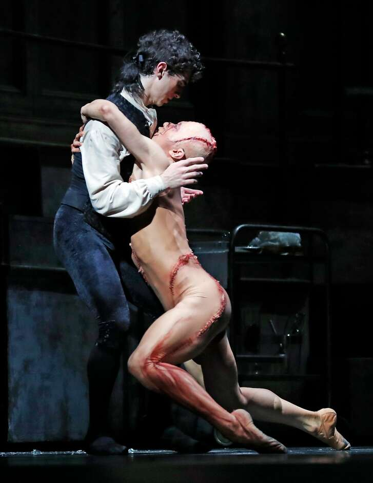 Max Cauthorn (Victor Frankenstein) and Wei Wang (The Creature) during Frankenstein, a ballet by Liam Scarlett, at War Memorial Opera House in San Francisco, Calif., on Sunday, March 4, 2018.