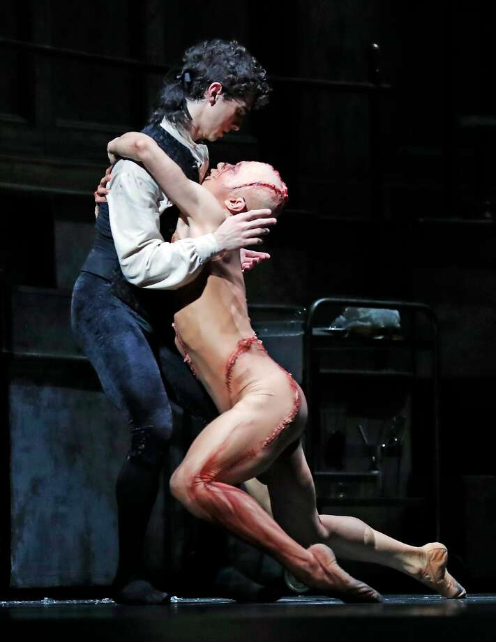 """Max Cauthorn dances the role of Victor Frankenstein and Wei Wang is the Creature in Liam Scarlett's """"Frankenstein."""" Photo: Scott Strazzante, The Chronicle"""