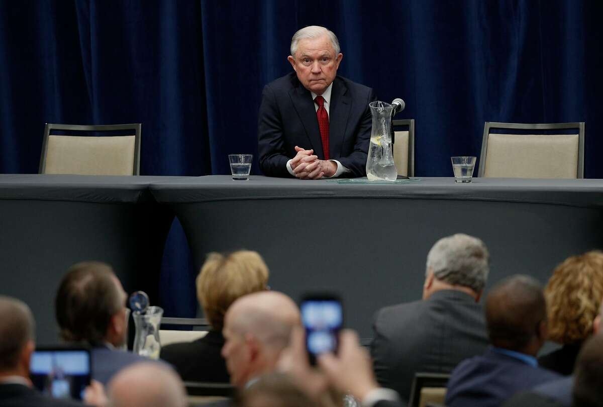 U.S. Attorney General Jeff Sessions before he delivers remarks to the California Peace Officer's Association at the Kimpton Sawyer Hotel in Sacramento, Calif., on Wed. Mar. 7, 2018.