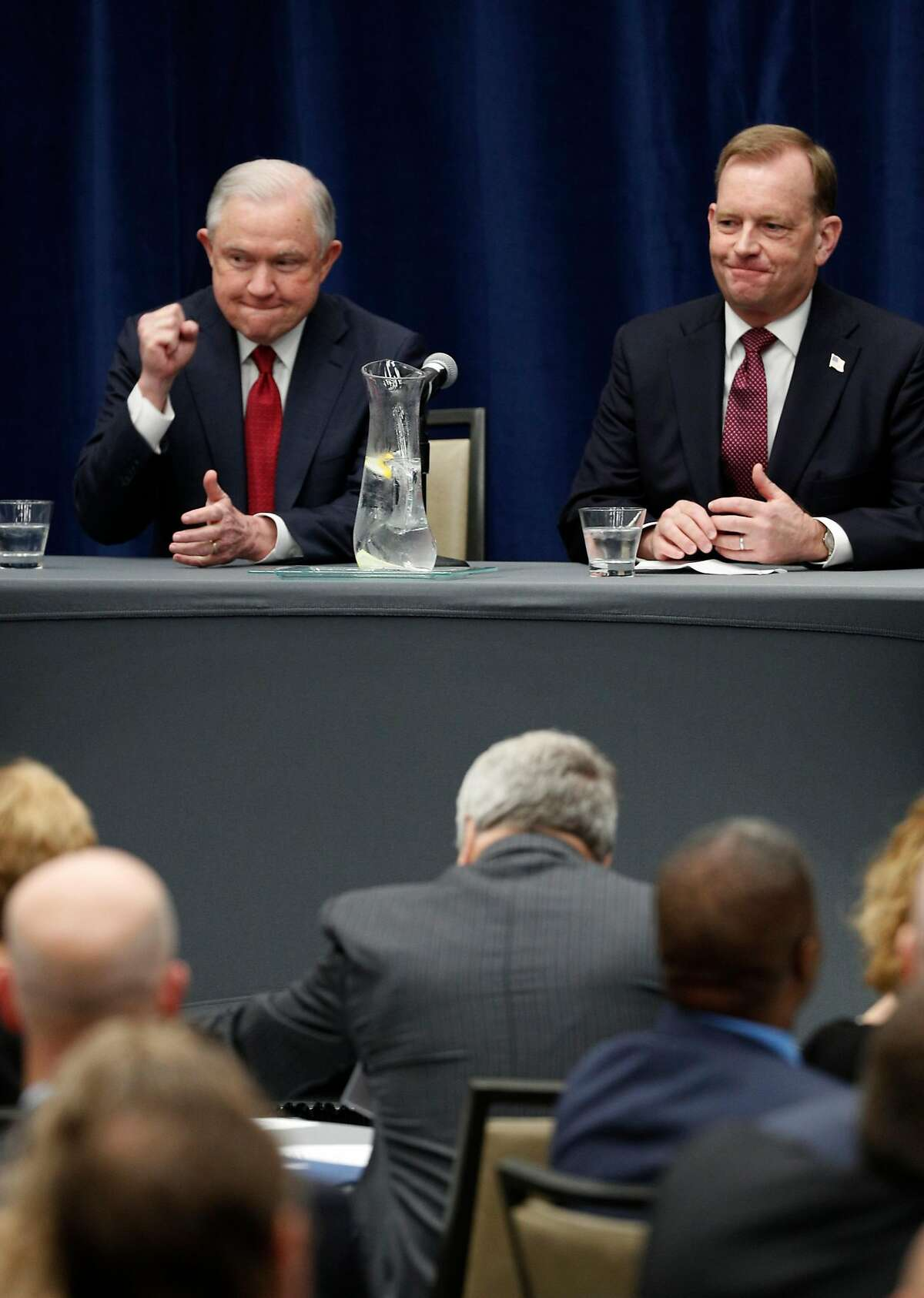 U.S. Attorney General Jeff Sessions before delivering remarks to the California Peace Officer's Association at the Kimpton Sawyer Hotel in Sacramento, Calif., on Wed. Mar. 7, 2018. Sessions is joined by by McGregor Scott, U.S. Attorney Eastern district and past California Peace Officer's Association president John McGinnes.
