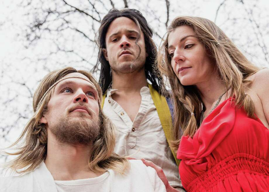 "Chris Kozlowski (as Jesus), left, Christian Cardozo and Carolyn Reeves star in ""Jesus Christ Superstar"" at the Downtown Cabaret Theatre March 16 through April 8. Photo: Kevin McNair Photography / Contributed Photo"