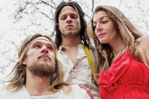 "Chris Kozlowski (as Jesus), left, Christian Cardozo and Carolyn Reeves star in ""Jesus Christ Superstar"" at the Downtown Cabaret Theatre March 16 through April 8."