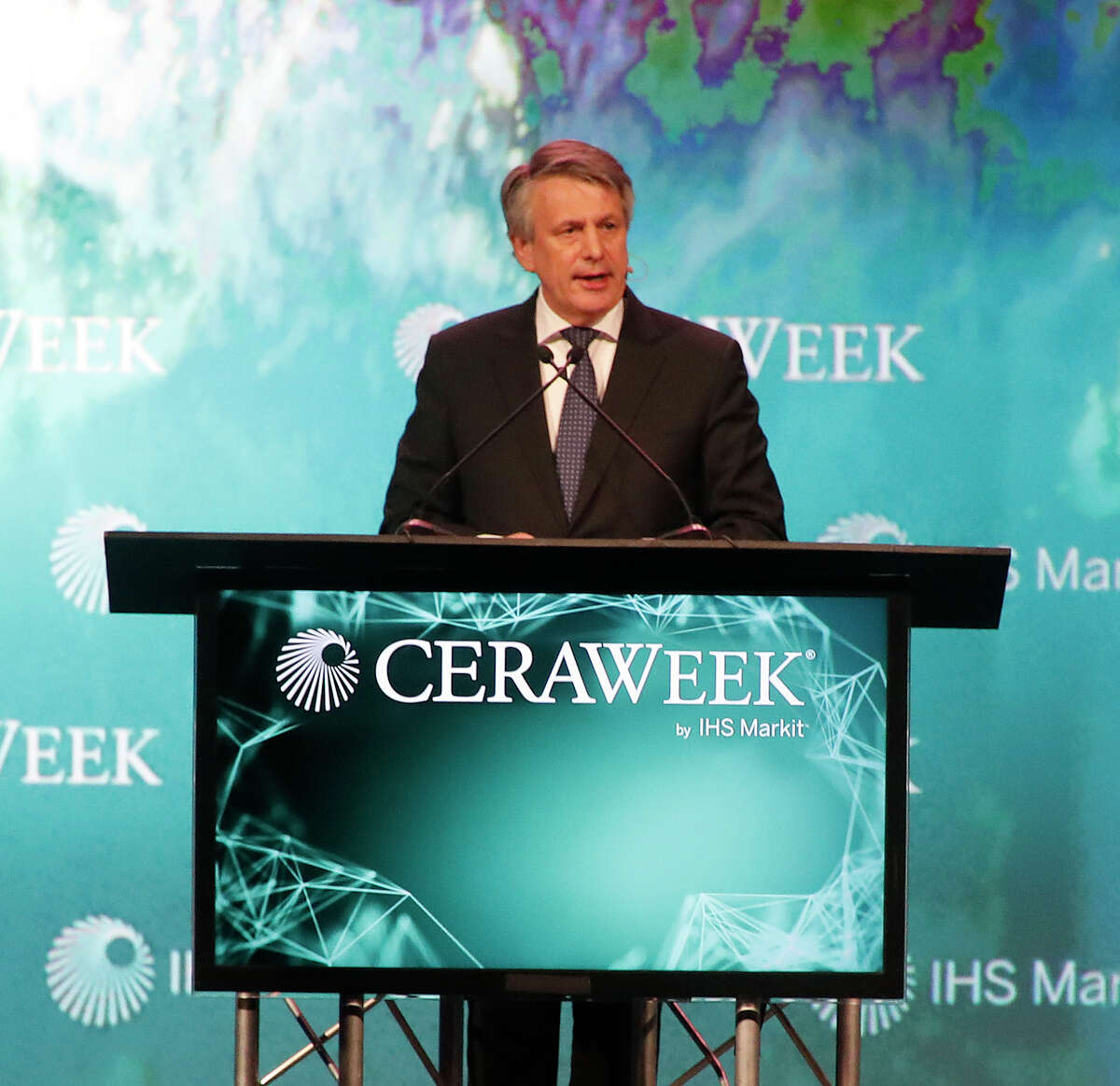 Royal Dutch Shell CEO Ben van Beurden speaks at the CERAWeek conference at the Hilton Americas, Wednesday, March 7, 2018, in Houston.