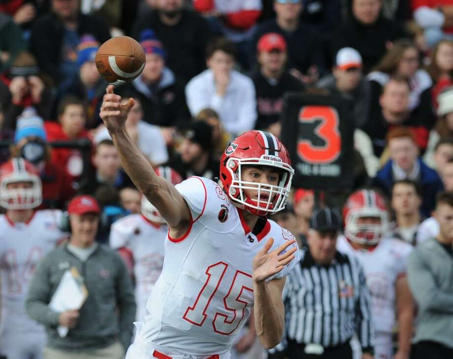 Michael Collins throws a pass for New Canaan in 2015. Collins, a red shirt sophomore, is competing for the starting job at TCU. Photo: Bob Luckey Jr. / Hearst Connecticut Media / Greenwich Time