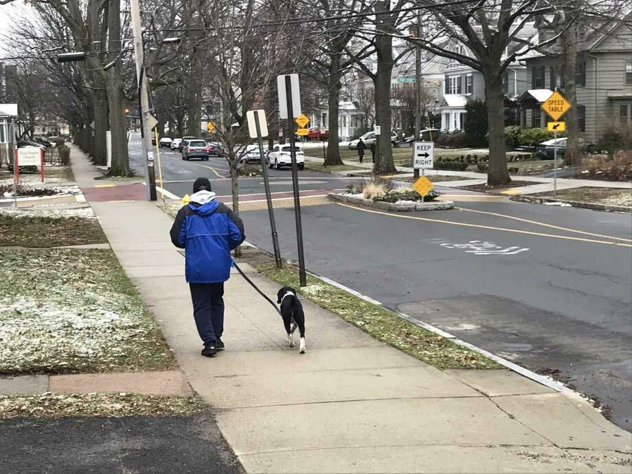 A man walks his dog around 9 a.m. in East Rock, hours before an expected snow storm. Photo: Brian Zahn/Hearst Connecticut Media