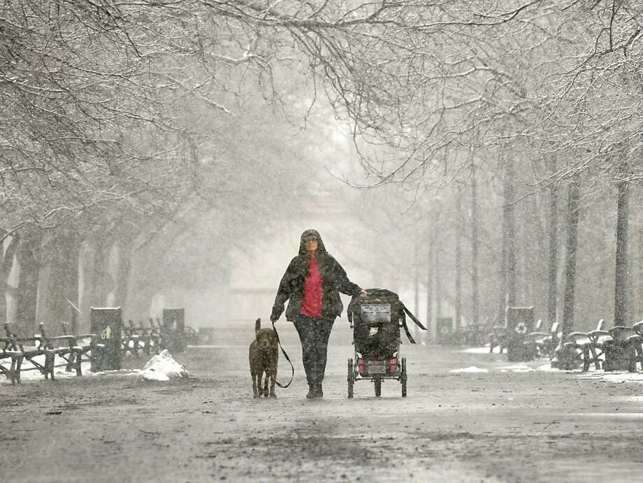Erin Waterhouse of Albany takes a walk with daughter and her dog Mandy during a snowstorm on Wednesday, March 7, 2018 in Albany, N.Y. (Lori Van Buren/Times Union) Photo: Lori Van Buren, Albany Times Union / 20043148A