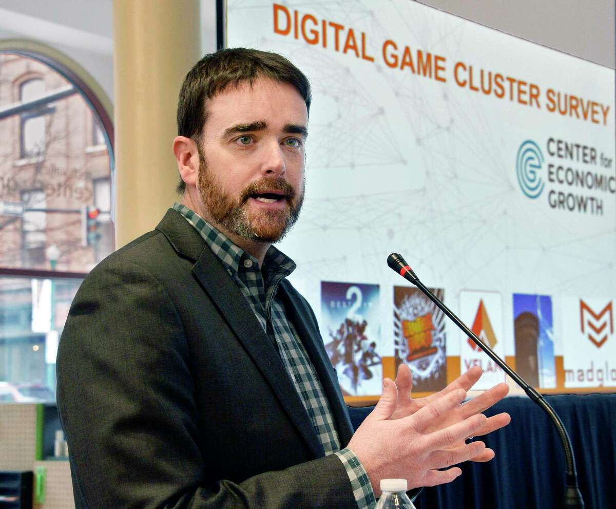 Andrew Kennedy, president and CEO of Center for Economic Growth presents the findings of a first-of-its-kind survey of the Capital Region's video game development cluster at the Tech Valley Center of Gravity Wednesday March 7, 2018 in Troy, NY. (John Carl D'Annibale/Times Union)