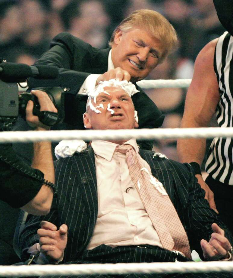 WWE chairman Vince McMahon (C) has his head shaved by Donald Trump after losing a bet in the Battle of the Billionaires at the 2007 World Wrestling Entertainment's Wrestlemania at Ford Field on April 1, 2007 in Detroit, Michigan. Photo: Bill Pugliano / Contributed Photo / 2007 Getty Images