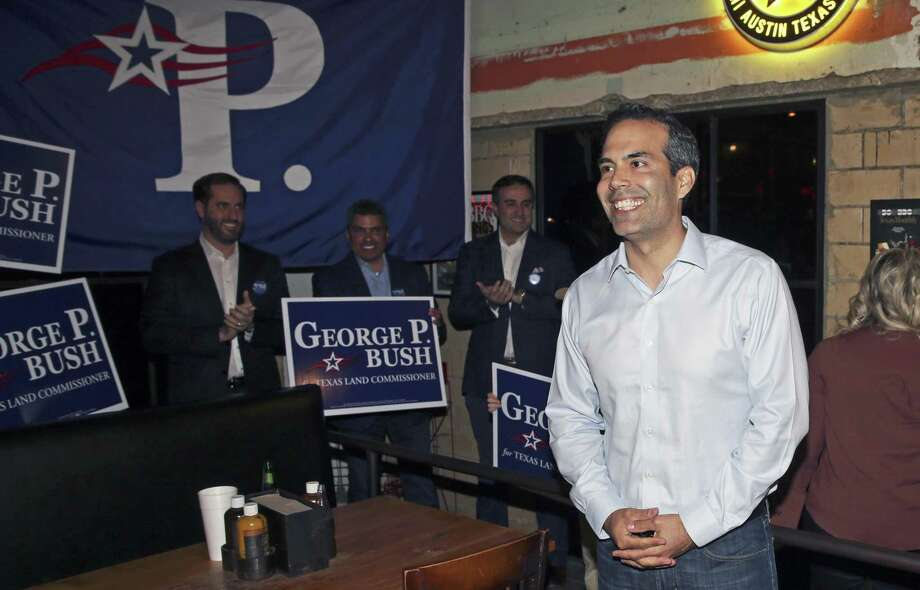 George P. Bush walks in the door at Stiles Switch BBQ at his election night watch party in Austin Tuesday. Photo: Tom Reel / Tom Reel / San Antonio Express-News / 2017 SAN ANTONIO EXPRESS-NEWS