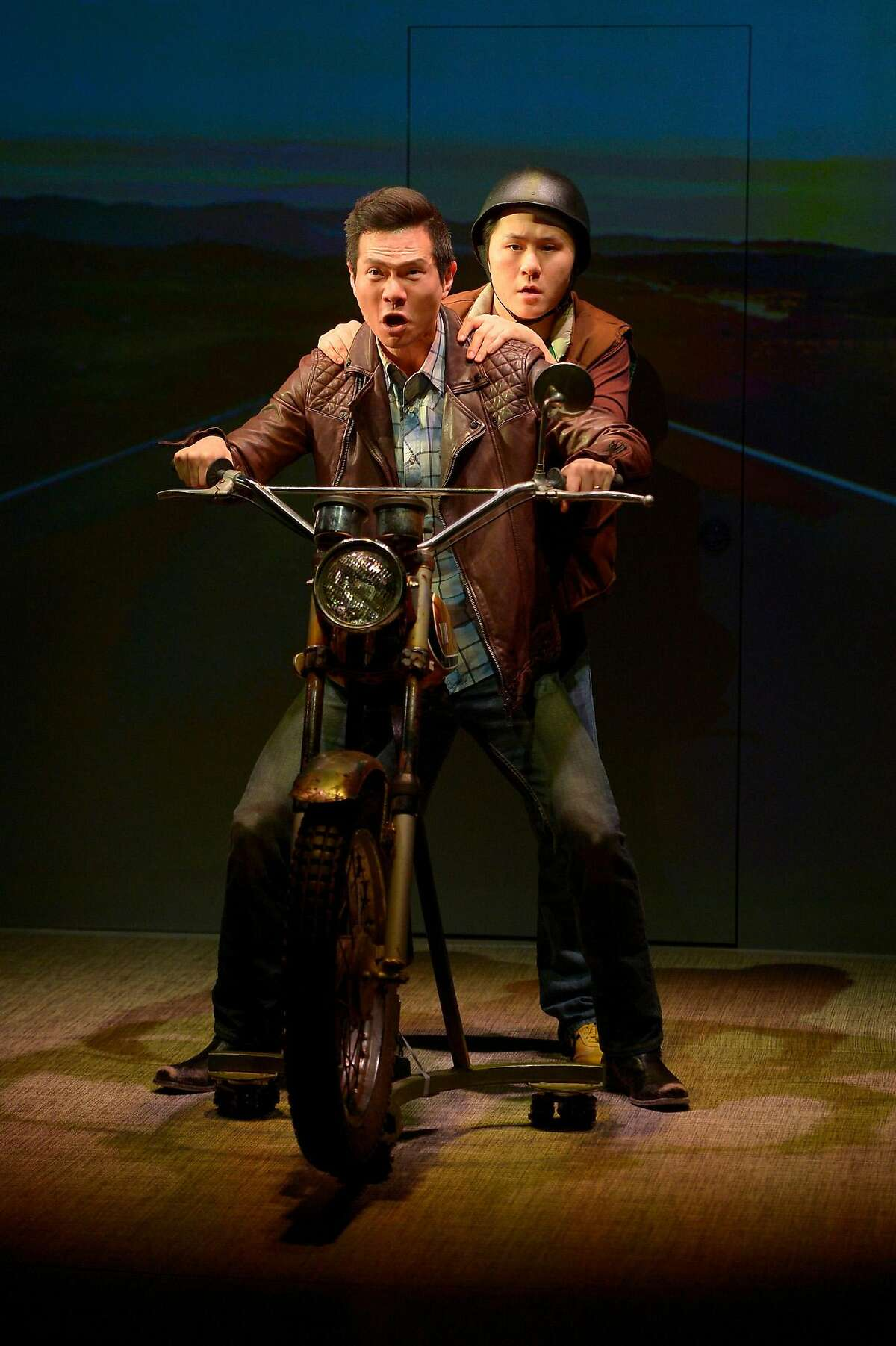 """Quang (James Seol, front) and friend Nhan (Stephen Hu, back) in American Conservatory Theater's """"Vietgone."""""""
