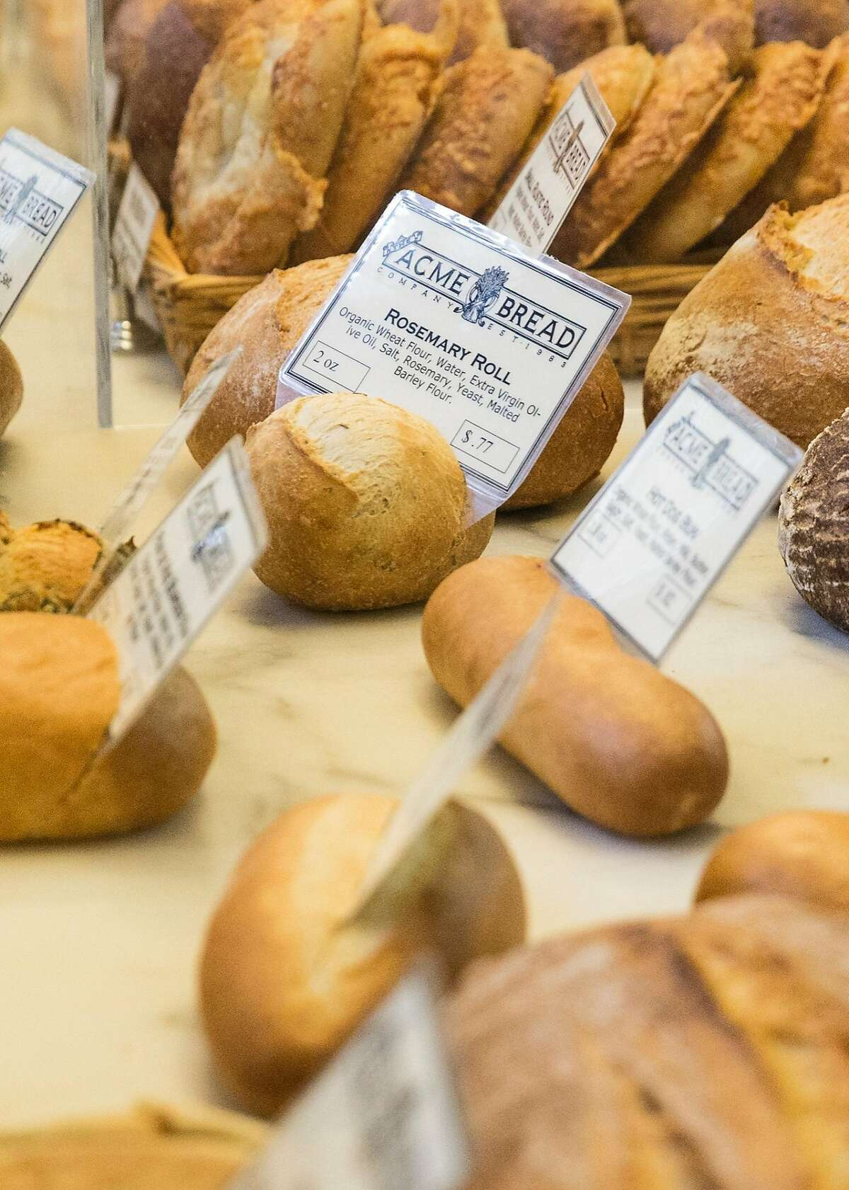 A variety of bread loafs sit on display at Acme Bread inside the Ferry Building Saturday, March 3, 2018 in San Francisco, Calif.