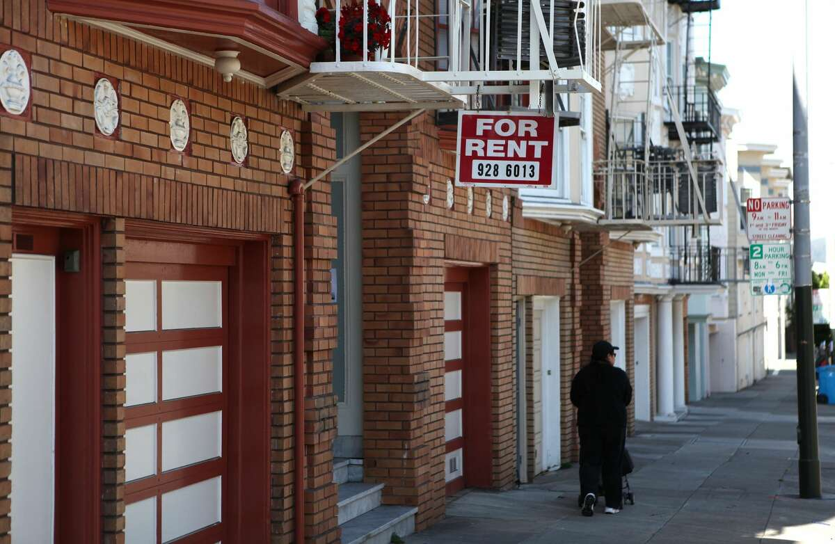 File photo of a sign advertising an apartment for rent in San Francisco, California.