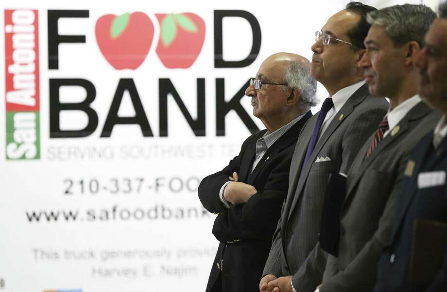 Harvey Najim listens to speakers as the San Antonio Food Bank receives a $1.3 million donation from the philanthropist and the Najim Family Foundation on March 7, 2018 which is used to buy 10 new delivery trucks. Photo: Tom Reel /San Antonio Express-News / 2017 SAN ANTONIO EXPRESS-NEWS