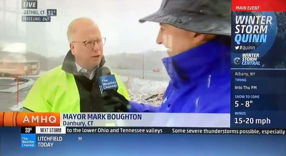 Danbury Mayor Mark Boughton spoke about the approaching storm on the Weather Channel Wednesday. Photo: The Weather Channel / Contributed Photo / Connecticut Post Contributed