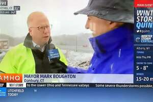 Danbury Mayor Mark Boughton spoke about the approaching storm on the Weather Channel Wednesday.