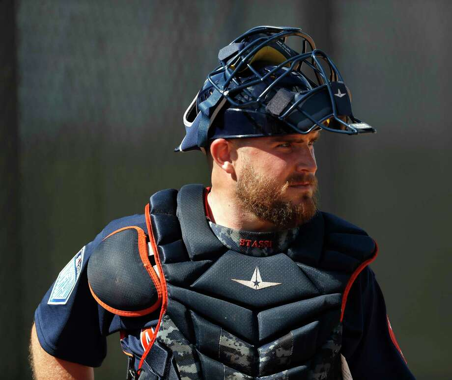 Houston Astros catcher Max Stassi (12) as the pitchers and catchers worked out during spring training at The Ballpark of the Palm Beaches, Thursday, Feb. 15, 2018, in West Palm Beach    ( Karen Warren / Houston Chronicle ) Photo: Karen Warren, Staff / © 2018 Houston Chronicle