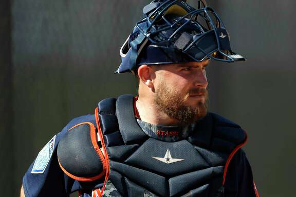 Houston Astros catcher Max Stassi (12) as the pitchers and catchers worked out during spring training at The Ballpark of the Palm Beaches, Thursday, Feb. 15, 2018, in West Palm Beach    ( Karen Warren / Houston Chronicle )
