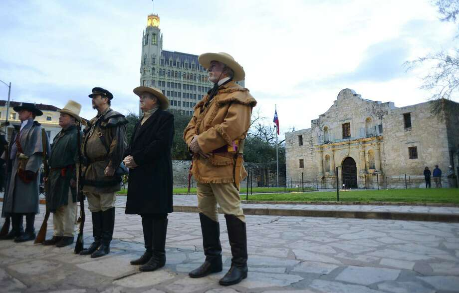 In March, re-enactors of the San Antonio Living History Association commemorate the Battle of the Alamo. This battle was not a clash pitting  Anglos against Hispanics. Photo: Billy Calzada /Staff Photographer / San Antonio Express-News