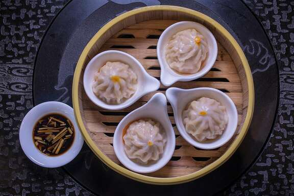 The Crab Roe Soup Dumplings at Dragon Beaux in San Francisco, Calif., are seen on Friday, April 10th,  2015.