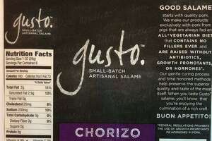 Labels show which products from Olli Salumeria Americana which are affected by a recent recall due to Listeria.