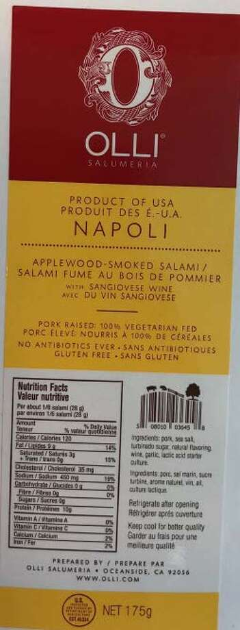 Labels show which products from Olli Salumeria Americana which are affected by a recent recall due to Listeria. Photo: Courtesy United States Department Of Agriculture