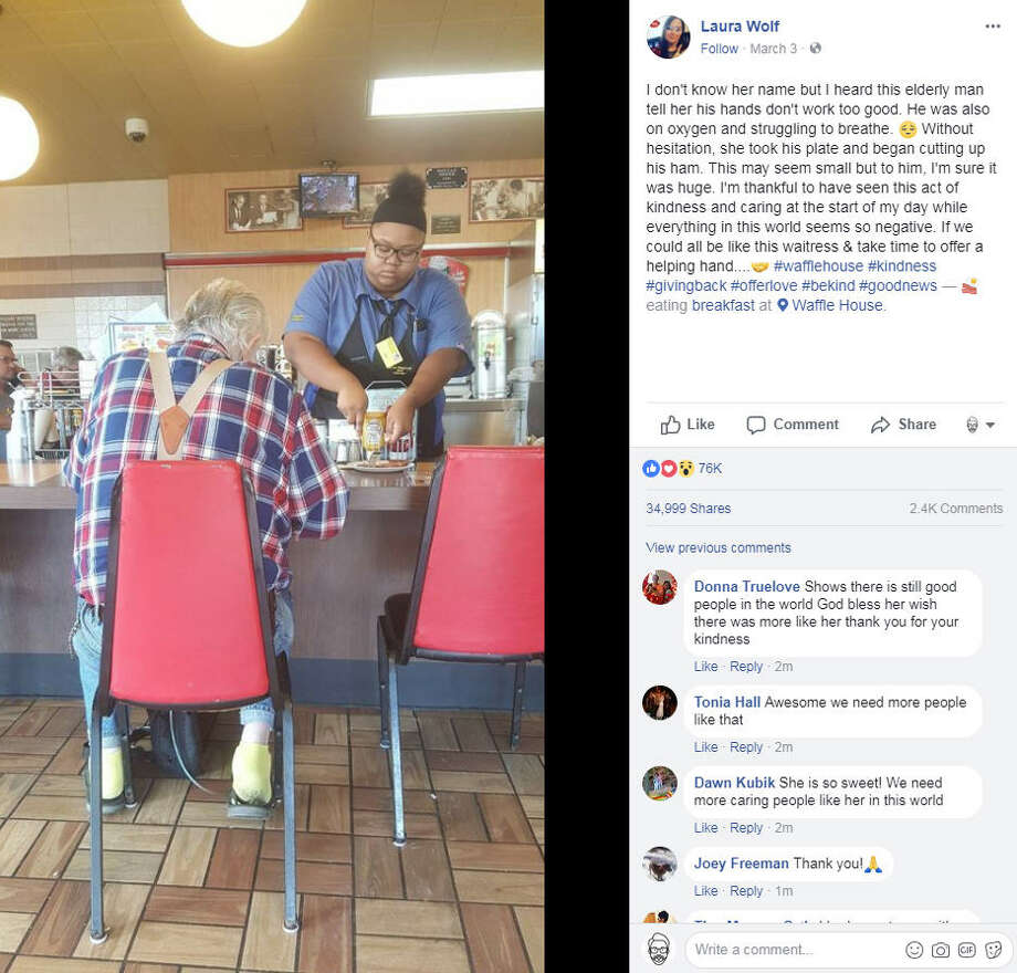 Evoni Williams, 18, touched tens of thousands of people on Facebook and Reddit after a photo of her helping a customer cut his food went viral.Swipe through to see some photos of celebrities engaging in some random acts of kindness. Photo: Laura Wolf