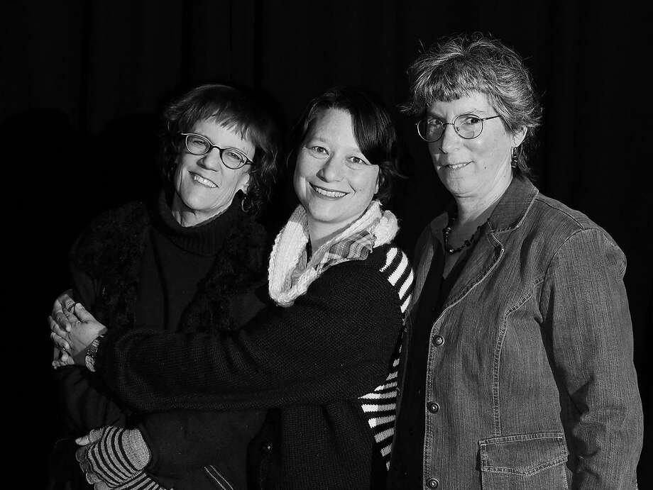 "The creative team behind Kitka's ""Iron Shoes"" production: Michelle Carter (left), playwright and librettist; Erika Chong Shuch, director and choreographer; and Janet Kutulas, composer. Photo: Courtesy Kitka"