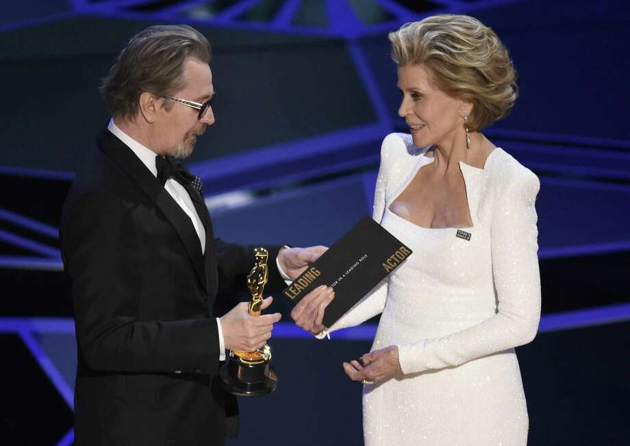 "Jane Fonda presents Gary Oldman with the award for best performance by an actor in a leading role for ""Darkest Hour"" at the Oscars on Sunday. A reader was offended by her presence at the ceremony. Photo: Chris Pizzello /Associated Press / 2018 Invision"